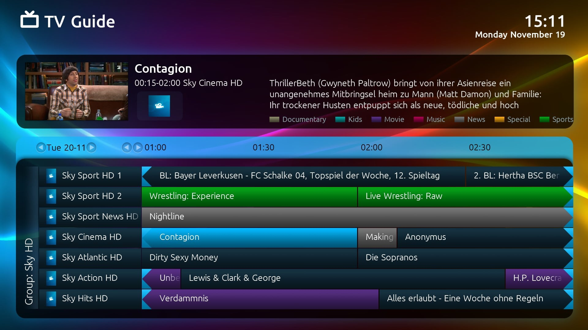 how to change the channel guide optik tv