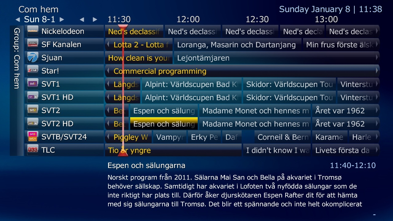 tv guide. programs which has a reminder set will show in different color the tv guide. tv guide